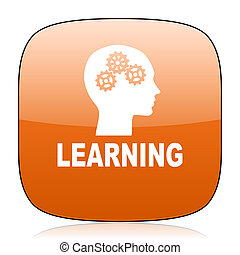 learning orange square web design glossy icon