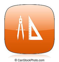 learning orange square web design glossy icon