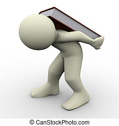 3d render of man carrying book on his back. Concept of learning difficulties.