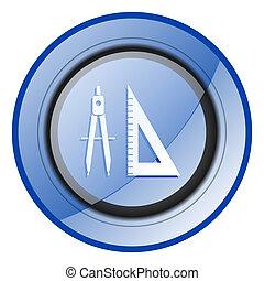 Learning round blue glossy web design icon isolated on white background