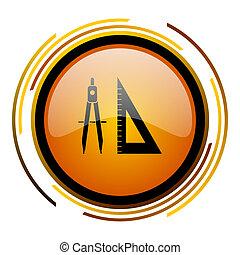 learning round design orange glossy web icon