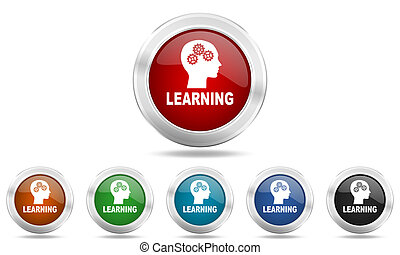 learning round glossy icon set, colored circle metallic design internet buttons