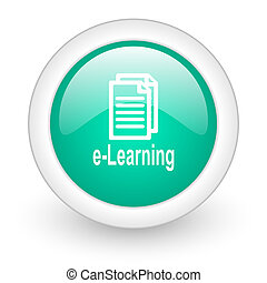 learning round glossy web icon on white background
