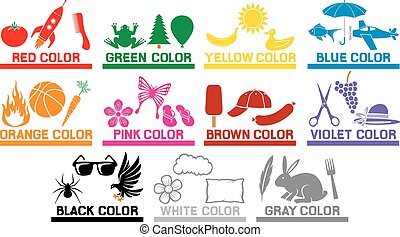 learning the colors for kids (animals, objects and colors...