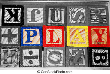 Learning Through Play - The word PLAY spelled out in...