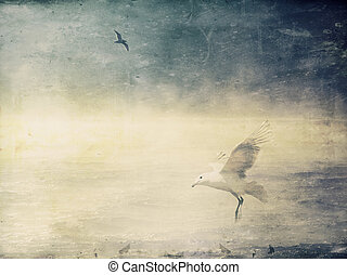 Learning to Fly - Seagulls and the sea with textures...