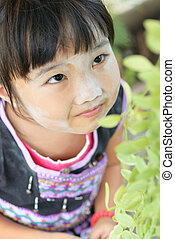 Learning to nature - Asian kid in the hill tribe dress look...