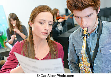 Learning to play the saxophone