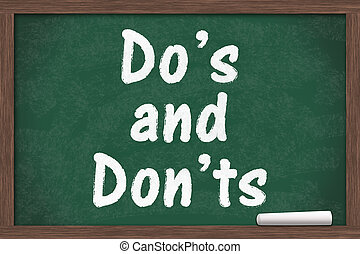 Learning to use proper grammar, Chalkboard with a piece of chalk and text Do's or Don'ts