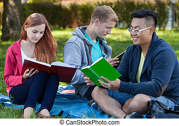 Learning together in a park