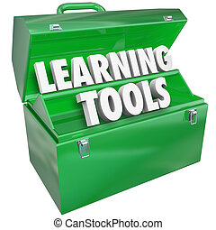 Learning Tools 3d words and letters in a metal toolbox to illustrate special skills and systems for educating, teaching and inspiring students to learn more in school and training