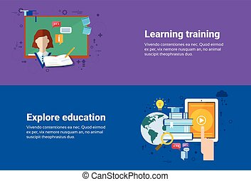 Learning Training Courses Education Web Banner Flat Vector...