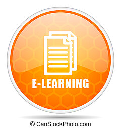 Learning web icon. Round orange glossy internet button for webdesign.