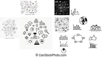learnings, ドロー, 要素, 金融, ビジネス, scetches, いたずら書き, 概念, 手, analytics, infographic, リーダーシップ, 進歩