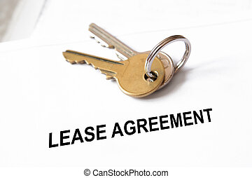 lease agreement document with house keys