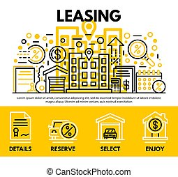 Lease contract concept background, outline style