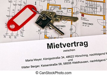 lease in german - a lease and a plan in german. symbolic...
