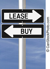 Conceptual one way street signs on leasing or buying options