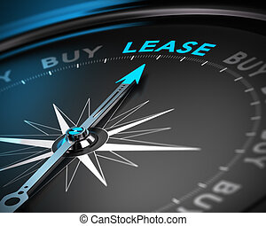 Lease vs Buy Concept - Conceptual 3D render of a compass...