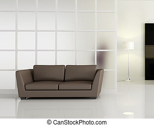 leathe, moderno, sofà marrone, interno
