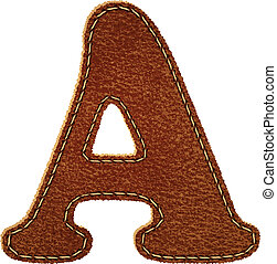 Leather alphabet. Leather textured letter A. Vector eps10 background