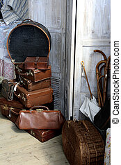 antique baggage - leather antique baggage in special shop