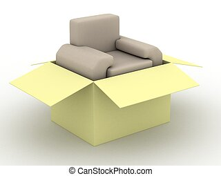 leather armchair in a packing box. 3D image.