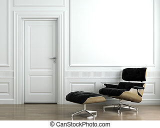 leather armchair on white interior wall
