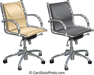 Leather armchairs for chief and boss on white background,...