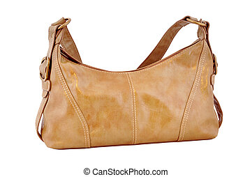 Leather bag brown - Leather feminine hand-bag on white...