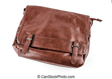 Leather bag isolated on white background