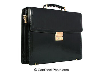 Leather bag with the lock on a white background