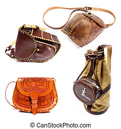 Leather bags - Variety of hand-made leather bags. Isolated ...