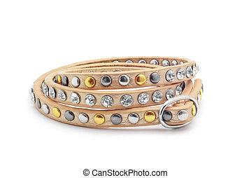 leather belt bracelet on white