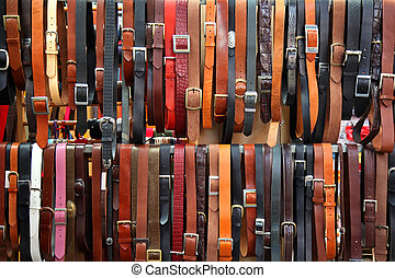 Leather belts - Bunch of leather belts accessories on...