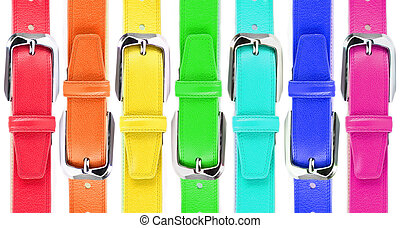 Leather belts of all colors of a rainbow