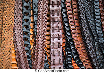 Leather belts on market