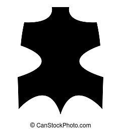 Leather black color icon .