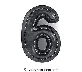 Leather black texture letter digit number six 6