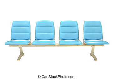Leather blue chair isolated