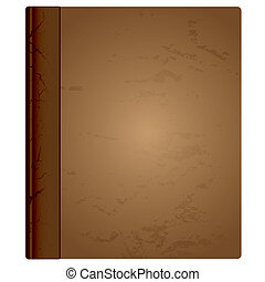 leather book bound - Brown aged hardback book cover with...
