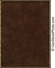 Leather book cover - Brown leather book cover with golden...