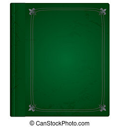 leather book green - Green and silver leather bound hard...