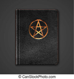 Leather Book With Pentagram. Vector
