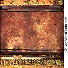 Leather bound book detail in close up