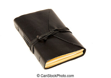 leather bound journal - An old fashioned leather bound blank...