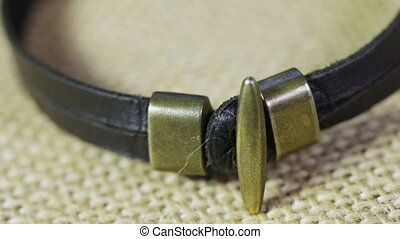 Leather bracelet - Rotating male leather bracelet handmade
