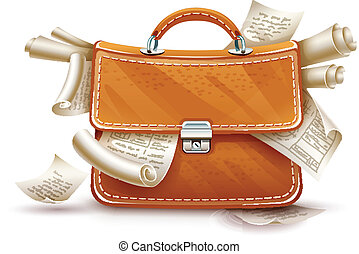 Leather briefcase full of papers and documents - Leather...