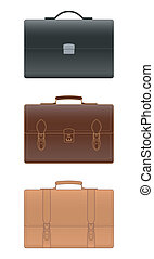 Leather briefcase on white background, vector illustration