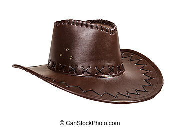 Leather brown cowboy hat isolated on white background